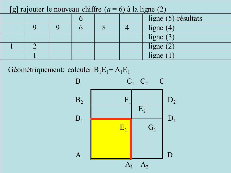 [g] rajouter le nouveau chiffre (a = 6) à la ligne (2)